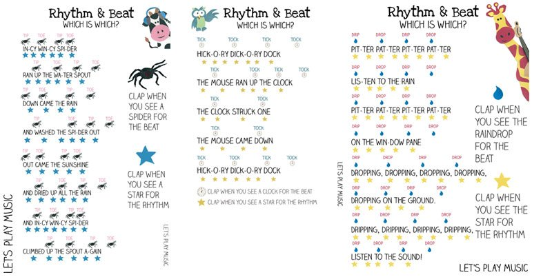 Printables for Teaching Kids the Difference Between the Rhythm and the Beat using Incy Wincy Spider, Hickory Dickory Dock and Pitter Patter Rain Song