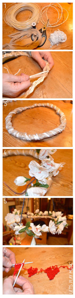 Step by step instruction of how to make a spring garland to hang your Valentine's Day decorations whilst singing The Valentine's Day Song for kids