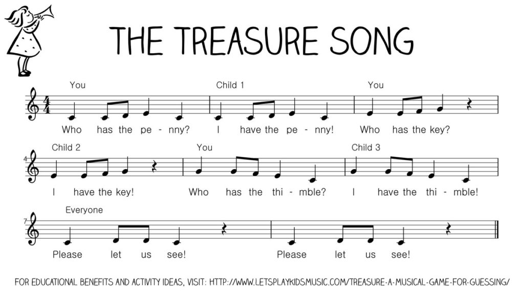 Let's Play Music - Free Sheet Music for The Treasure Song - a fun musical game to build confidence