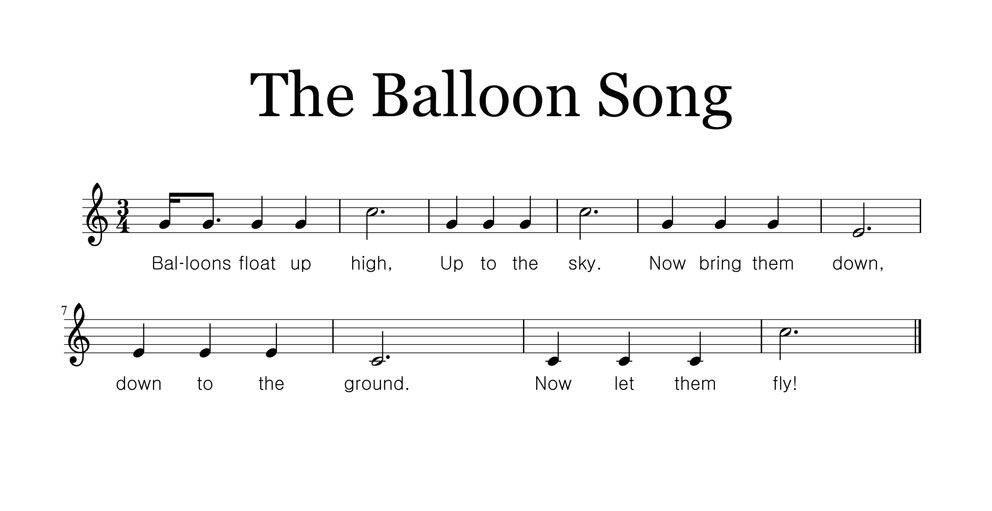 Vocal Line Sheet Music for The Balloon Song