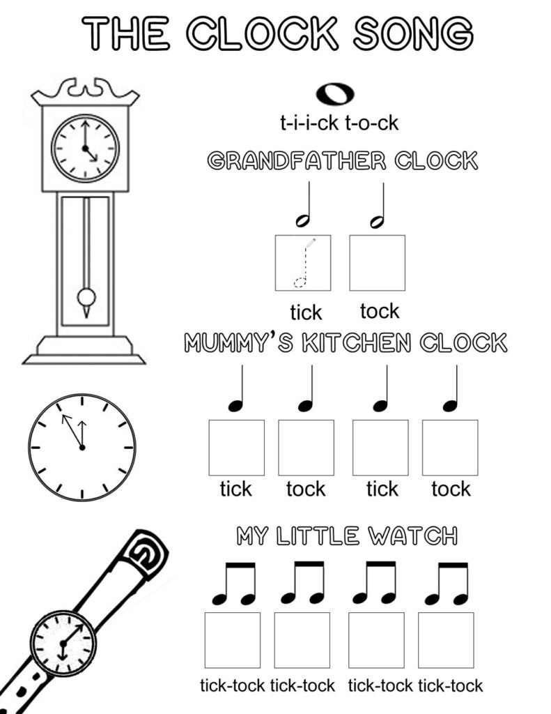 Worksheet Preschool Clock Activities the clock song an easy way to learn musical note values lets play music free theory worksheet a fun way