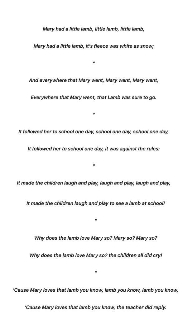 mary had a little lamb lyrics