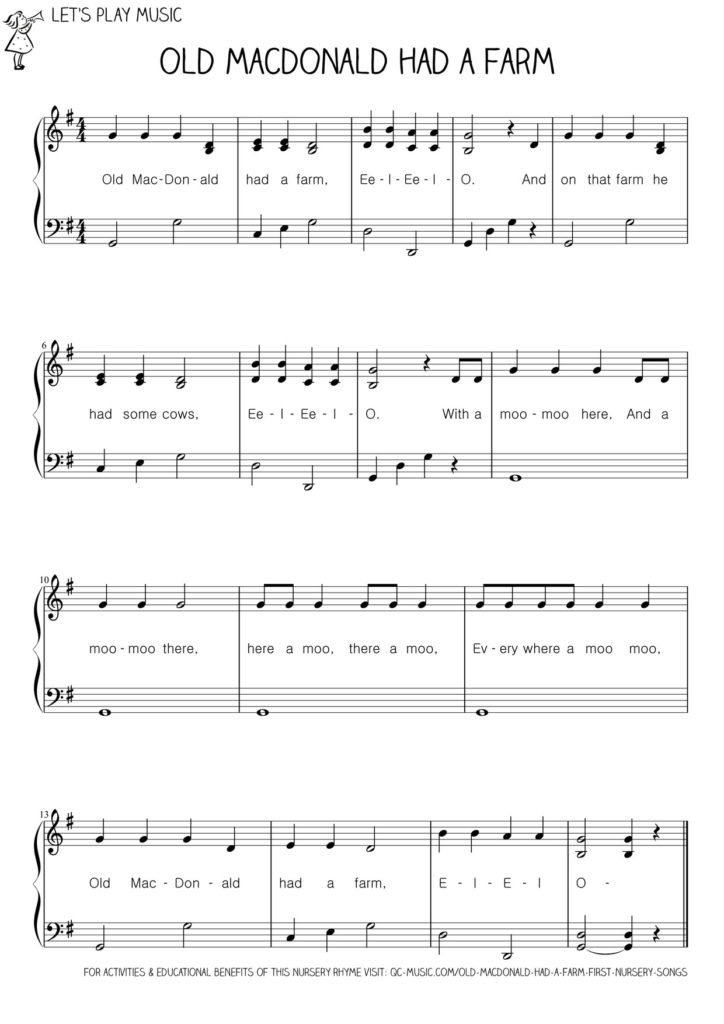 Let S Play Music Easy Piano Sheet For Old Macdonald Had A Farm