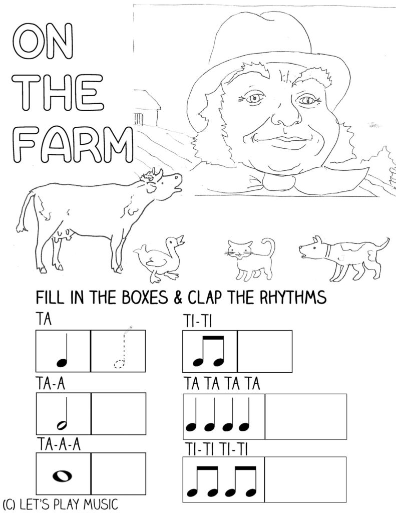 Let's Play Music : On the Farm - toddler & preschool fun music theory sheet.