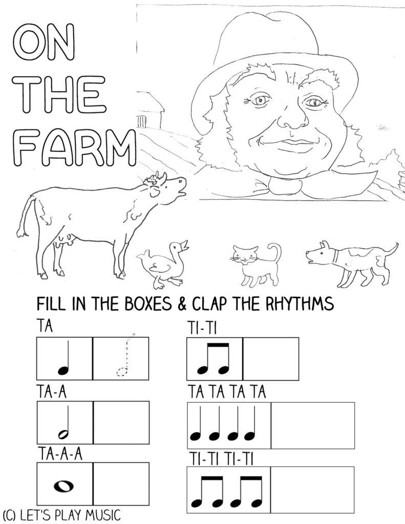 Let's Play Music : On the Farm - toddler & preschool fun music theory sheet.