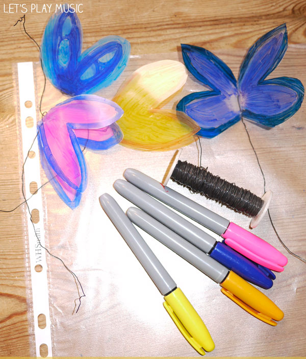 how to make fluttering butterflies for the Butterfly Song