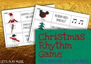 Christmas Rhythm Game - Free flashcard printables - Let's Play Music