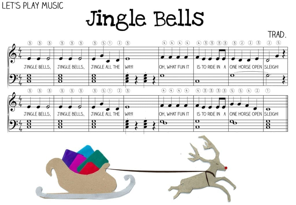 Piano piano sheet music with letters : Jingle Bells Very Easy Piano Sheet Music - Let's Play Music