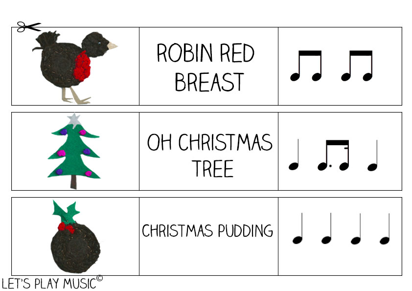 Let's Play Music - Free Printable Flashcards - Christmas Rhythm Sheet ( Page 1 of 2)