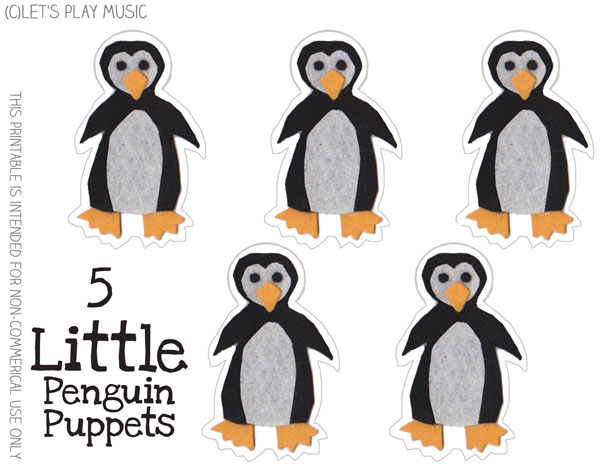 graphic regarding Printable Penguins identify 5 Tiny Penguins : Counting Music