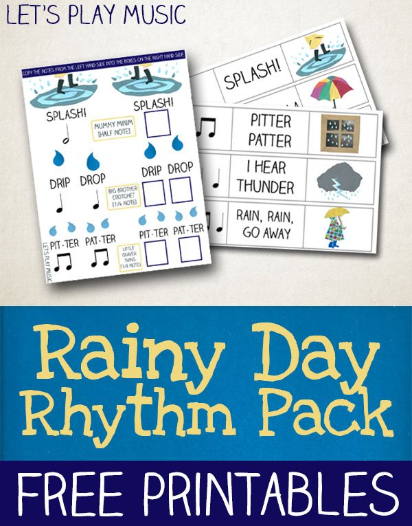 Rainy Day Rhythm Worksheets for Kids