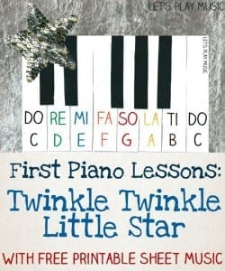 Free Sheet Music for Beginners & Lesson Plan for Teaching Kids Twinkle Twinkle Little Star