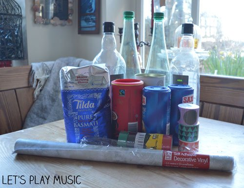 Homemade shakers and maracas materials