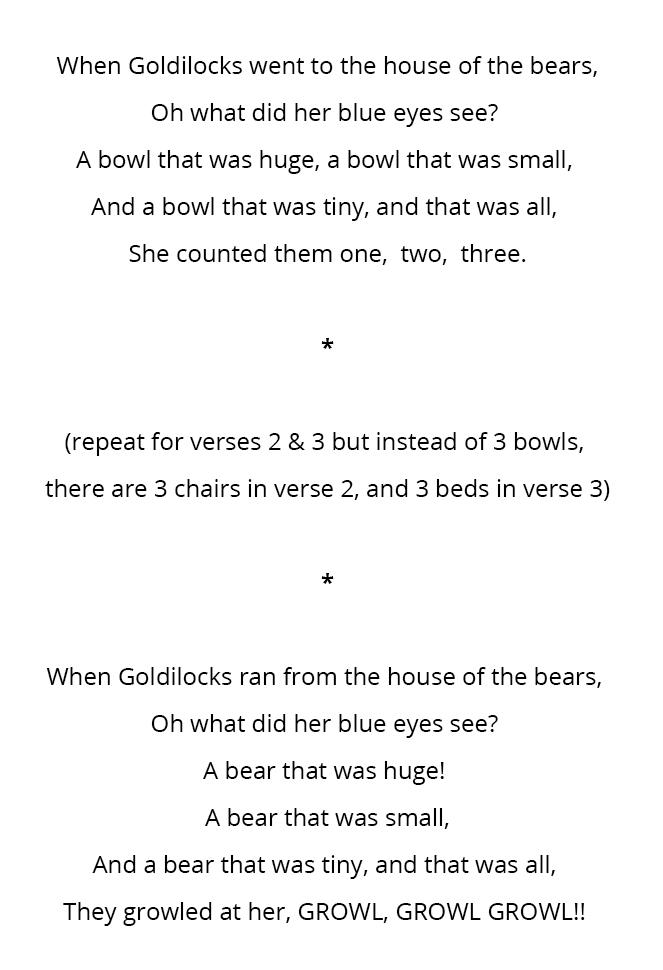 Goldilocks and the Three Bears Storytelling Song Lyrics