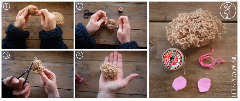 how to make a little hamster pompom as an aide to teach kids correct piano hand position