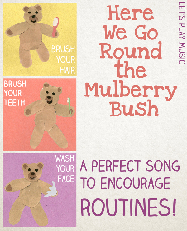 Here we go round the mulberry bush is a brilliant song for teaching kids all about routines!