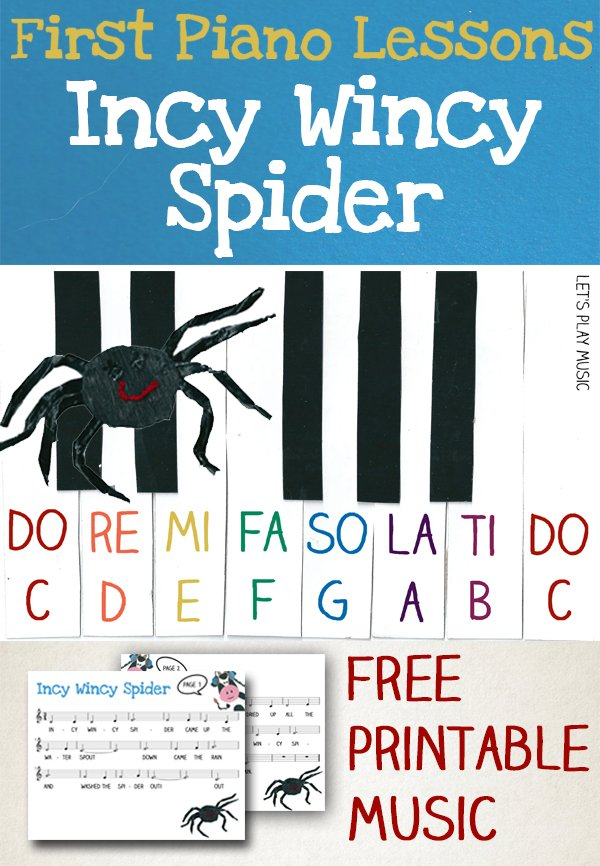 Incy Wincy Spider Easy Piano Music - Let's Play Music