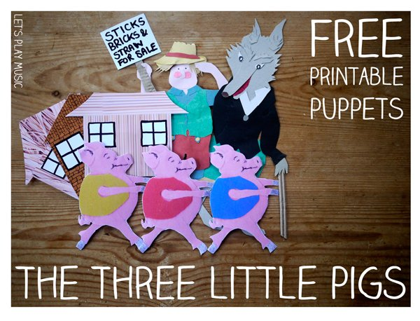 Three Little Pigs Puppets for Musical Storytelling