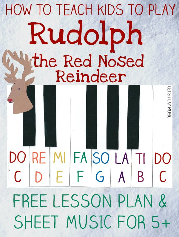 Easy Piano Music Rudolph The Red Nosed Reindeer - Let's Play Music