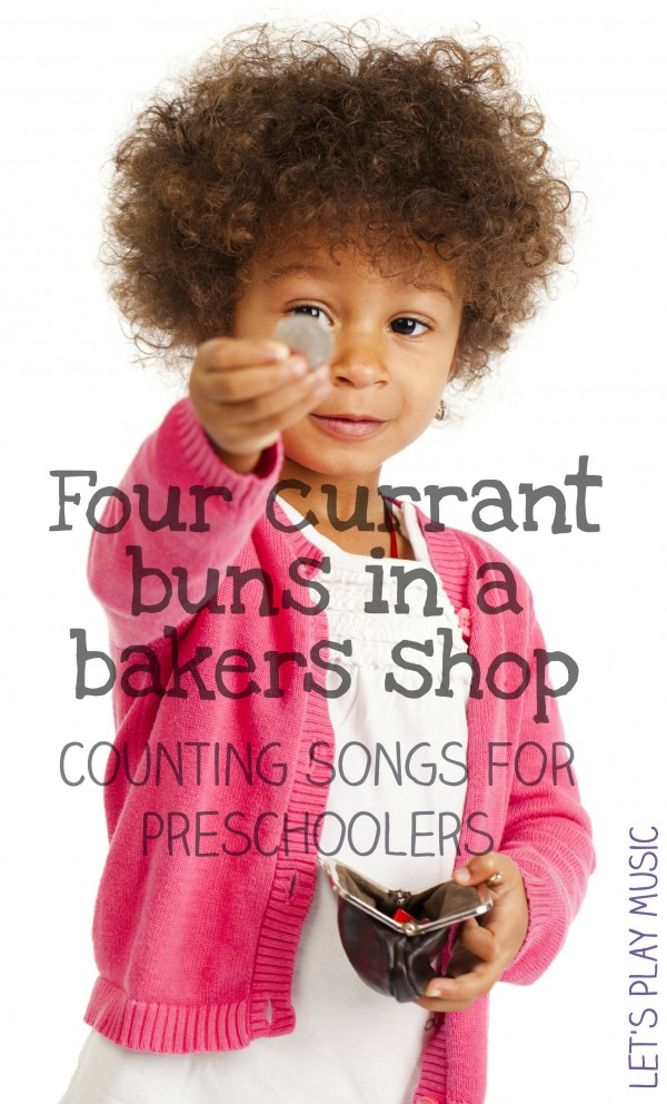 Four currant buns in a bakers shop counting songs for preschoolers