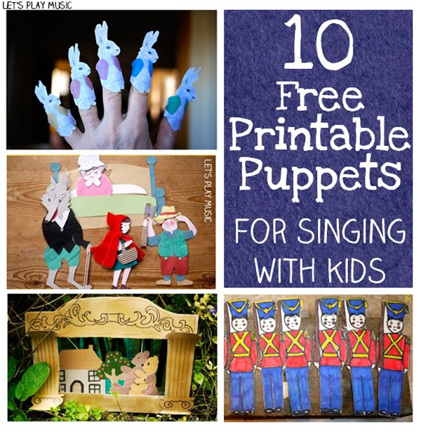 These free printable puppets are for favourite preschool songs and nursery rhymes (5 Little Ducks, 5 Little Bunnies, 5 Naughty Monkeys etc) but also some more unusual songs I haven't heard of like Little Red Riding Hood and The Three Little Pigs!