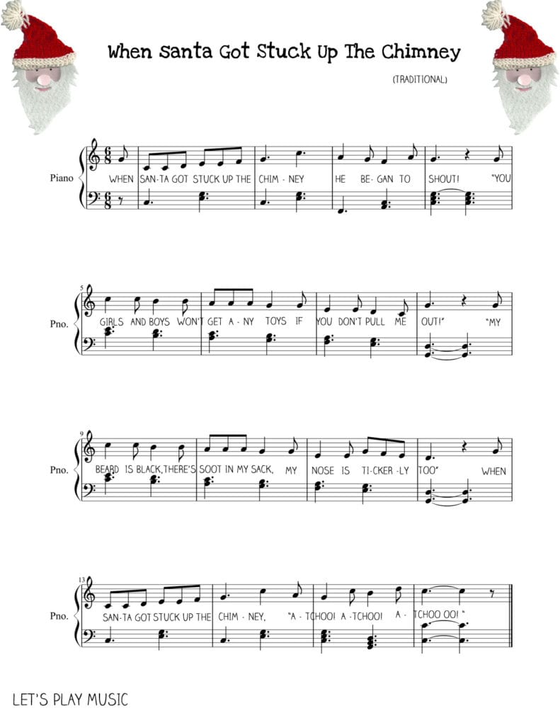 when santa got stuck up the chimney easy piano sheet music tutorial