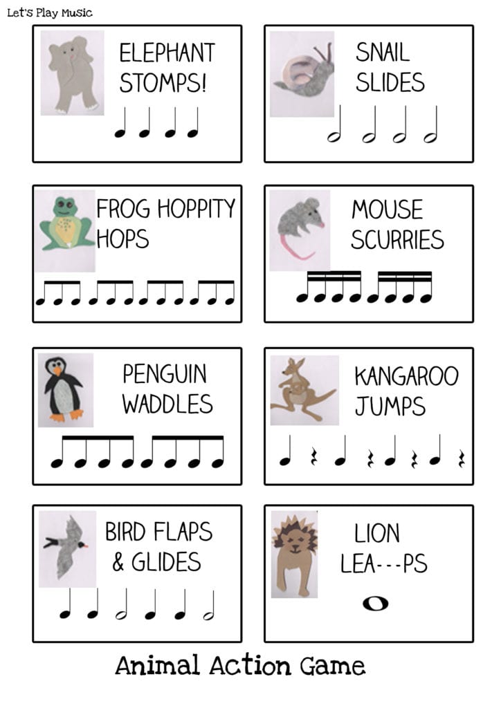 Animal actions Rhythm game with imaginative music