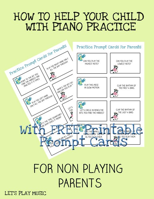 How to help your child with piano practice prompt cards for parents