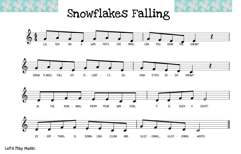 snowflakes falling sheet music.