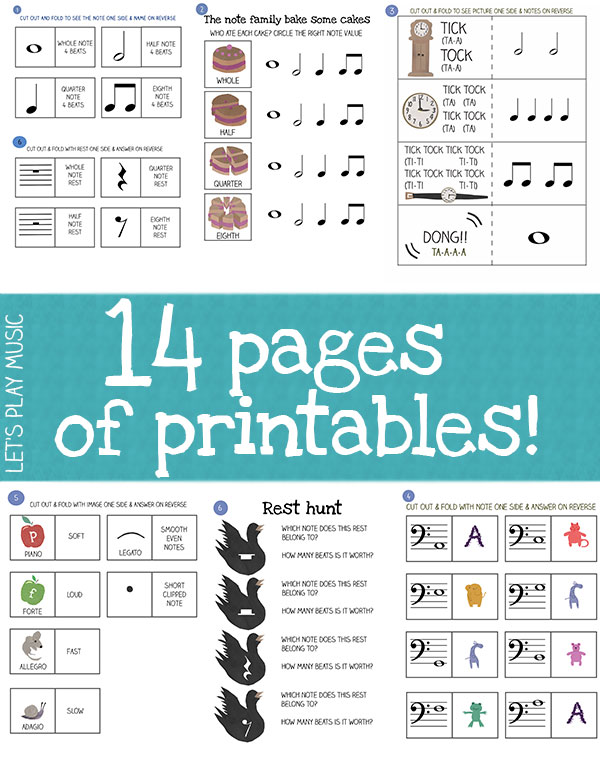 The Note Family - includes 14 pages of printables and flashcards