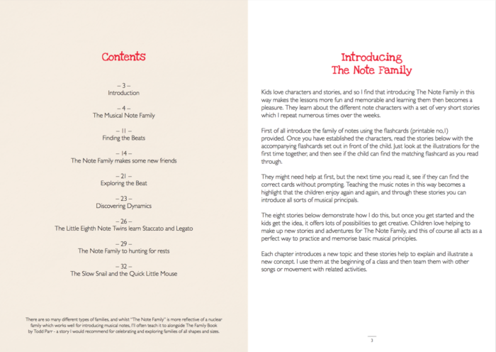 The Note family stories sample pages